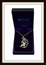 CELTIC MOON GAZING HARE PEWTER PENDANT NECKLACE ~ FROM ST. JUSTIN ~ FREE P&P