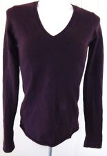 Vince 100% Cashmere Sweater Burgundy Brown V-Neck Pullover Small EUC Free Ship