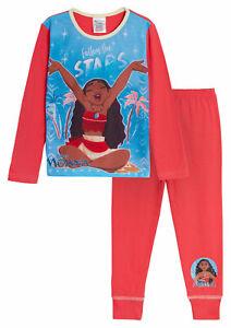 Disney Moana Pyjamas For Girls Kids Full Length Character Pjs Set Gift Nightwear