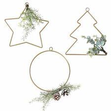 3 x Weihnachtsdeko Reifen Stern Tannenbaum Gold | Hängedekoration Weihnachten