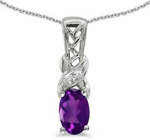 10k White Gold Oval Amethyst & Diamond Pendant (Chain NOT included) P2584W-02