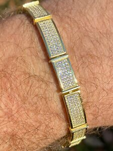14k Gold Over Solid 925 Sterling Silver Mens Iced Flooded Out Bracelet Diamond