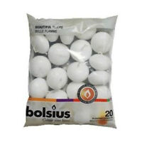 PREMIUM BOLSIUS WHITE FLOATING CANDLES, 20 PACK 5HOUR BURN TIME - GREAT VALUE!!