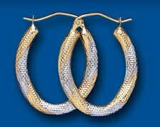Hoop Earrings Gold Creole Hoops Yellow and White Two Tone Oval Hallmarked