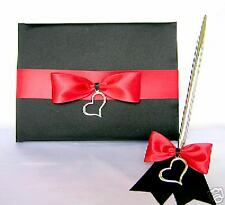 Wedding Reception Black Red Silver Heart Wedding Guest Book Pen Set Your Colors