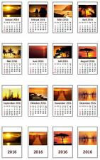 2221# Miniatur Kalender 2018 fertig montiert - Motiv Sonnenuntergänge - M1zu12