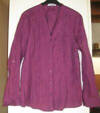 Chemise sans col manches longues - taffeta froissé- fuchsia- 52