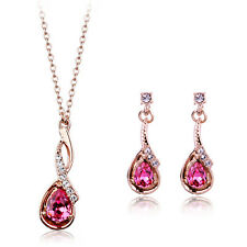 18K GOLD PLATED PINK GENUINE AUSTRIAN CRYSTAL & CZ DANGLE NECKLACE & EARRING SET