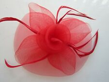 RED Fascinator | Sinamay Net | Feathers | Wedding Prom Races (68A)