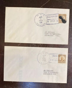 1936 Naval Covers Cruiser USS Houston And Destroyer uss Hull -Pearl Harbor Ship