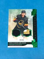 2019-20 UD ARTIFACTS WILLIAM KARLSSON DUAL GAME USED PATCH 3 COLOR EMERALD /65