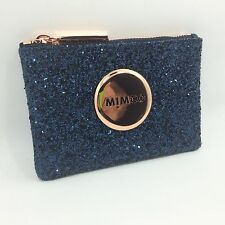 BNWT MIMCO SPARKS POUCH WALLET prussian blue ROSE GOLD LEATHER