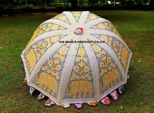 Indien Éléphant Jardin Parapluie, Fait Grand Parasols Patio Extérieur Décoratif