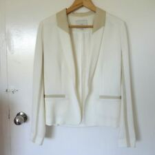 NEW Gorgeous Iro Toby Leather-Accented Blazer Ecru Size 1