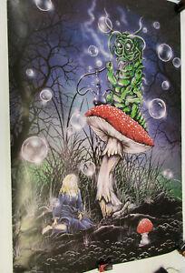 Alice in Wonderland poster mushroom caterpillar smoking hookah