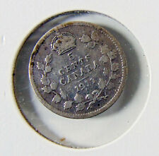 1911 - Canada 5 Cent SILVER Coin  -  Rated F