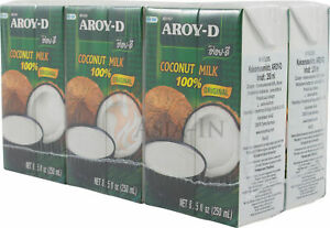 6er Pack Kokosmilch coconut milk Aroy-D 250ml, 1,5l