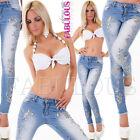 New Women's Diamante Floral Stretch Jeans Denim Pants Size 6 8 10 12 XS S M L
