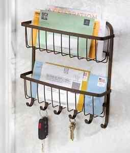Bronze Key Holder Mail Rack Wall Mount Organizer Letter Storage Keys Hanger Hook