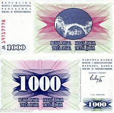 BOSNIA 1000 Dinara Banknote World Money UNC Currency Europe Note p15 1992 Bill