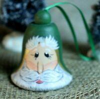 Vintage Wood Handpainted Santa Bell Ornament -  signed E Hartfield