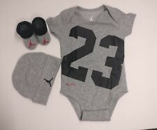 Nike Jordan 3 Piece Infant Short Sleeve Set Babygrow 0-6 Months Black Grey