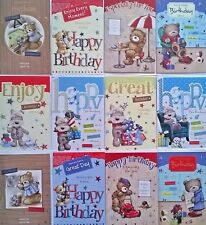 Pack Of 12 Male Mens Cute Teddy Bear Open Birthday Greeting Cards For Him