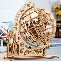 Laser Cut Globle Model Building Kits Wooden Mechanical Toy Gift for Teens Adults