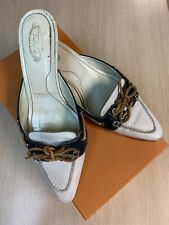 Tod's Shirley Vela Sabot R30 Shoes  Size 7.5 WITH BOX Slides Leather Mules