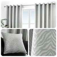 Curtina AFRICA Stone Grey Animal Striped Eyelet Curtains & Cushions