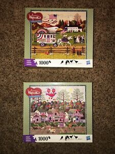 Lot of 2 Charles Wysocki Americana 1000 Pieces Puzzles Hasbro All Complete #A22