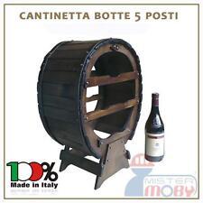 CANTINETTA IN LEGNO CANTINELLA BOTTE 5 POSTI PORTA BOTTIGLIE VINO MADE IN ITALY