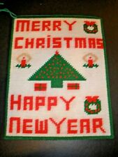 """Merry Christmas Happy New Year Finished Plastic Canvas Wall Hanging  13.5"""" X 10"""""""