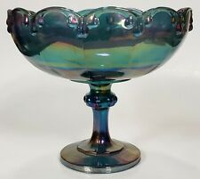 Vintage Indiana Glass Garland Carnival Blue Open Raised Compote Pedestal Bowl