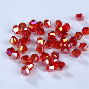 100Pcs 4Mm Red Shiny Crystal Glass Loose Spacer Beads For Bracelet Diy Jewelry