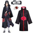 Akatsuki Naruto Kostüm Mantel Uchiha Itachi Stirnband + Ring Anime Ninja Cosplay <br/> Nach Halloween Geliefert✅135-170cm✅hohe Qualität✅DHL✅DE