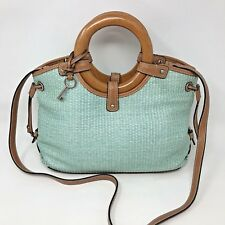 Fossil Straw Leather Cross Body Purse Hand Shoulder Bag Teal Wooden Handles