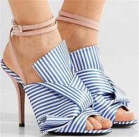 Women Slim High Heels Buckle Slingback Stripe Sandals Peep Toe Summer Shoes Blue