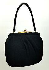 Vintage Bolso Lewis lana color negro vertical Pulido Oro Decorativo CIERRE 1950s