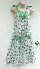 VINTAGE Green Cotton Boho Festival Dress with Shoulder Ties & Pockets size S / 8