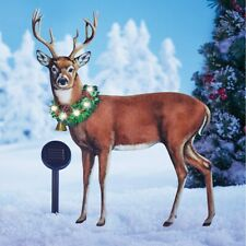 Solar Lighted Majestic Buck Deer w/ Wreath Christmas Outdoor Metal Garden Stake