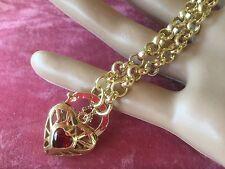 Antique Vintage Gold Chain Necklace with Heart Padlock Pendant 54 cm long