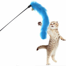 Cat Kitten Pet Teaser Turkey Feather Interactive Stick Toy Wire Chaser Wand