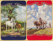 2 Single VINTAGE Swap/Playing Cards MARE FOAL & HORSES PLOUGHING Gold Detail