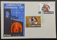 Gibraltar 1971 Xmas Set on Official Illustrated Cover