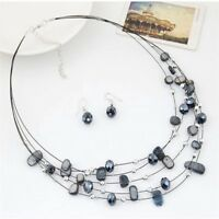 Color Wedding Fashion Crystal Multi Layer Jewelry Sets Necklace Earrings Set