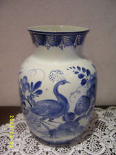 alte antike Vase Villeroy&Boch Pfau V&B France Saar Economic Union blau bemalt