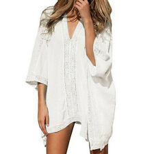 Ladies Beach Beachwear Swimwear Bikini Cover Up Kaftan Mini Elegant Dress White