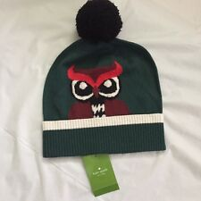 """KATE SPADE """"Who Me"""" Beanie 100% Wool Owl Hat in Lily Pad Green Pom-Pom,NWT"""