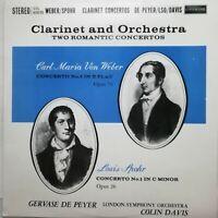 Weber / Spohr: Clarinet Concertos / de Peyer / L'Oiseau-Lyre LP SOL 60035 FIRST